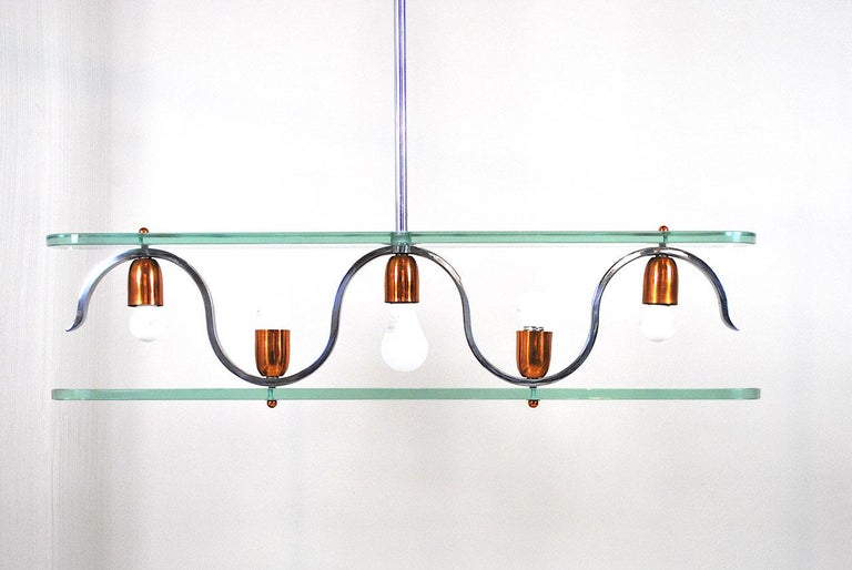 Midcentury Italian Chandelier in at the Style of Gio Ponti for Fontana Arte 1