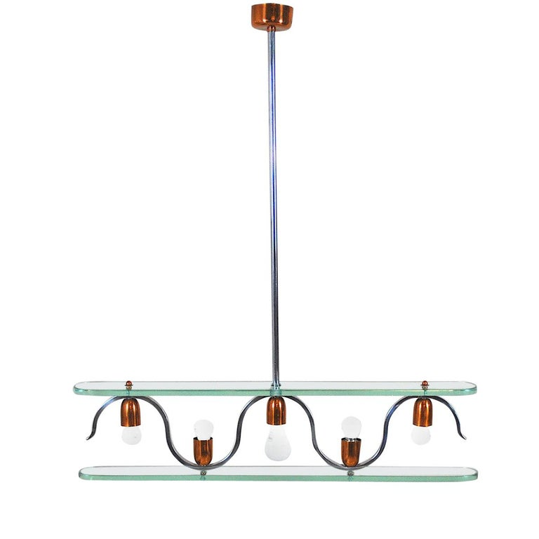 Midcentury Italian Chandelier in at the Style of Gio Ponti for Fontana Arte