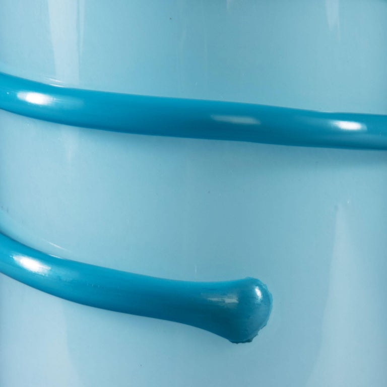20th Century Midcentury Light Blue Murano Glass Vase as a Table Lamp For Sale
