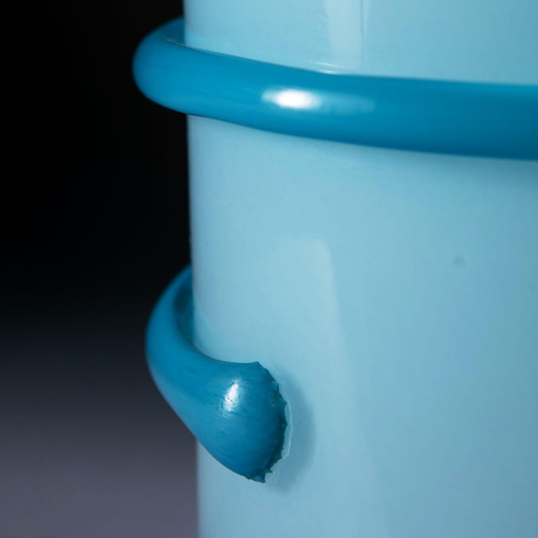 Midcentury Light Blue Murano Glass Vase as a Table Lamp For Sale 3