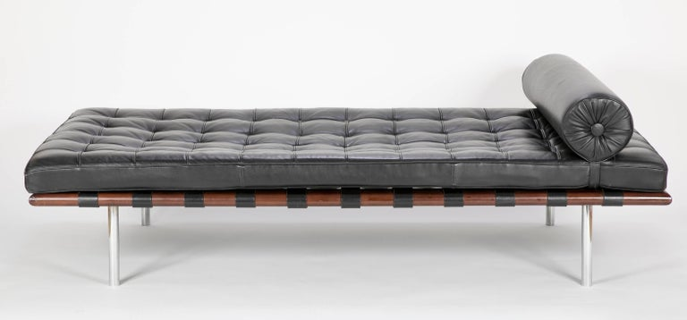 A daybed designed by Mies van der Rohe and produced almost certainly by Knoll. The quality of both the leather and the construction technics and materials all point to this piece being produced by Knoll International. Please note the chrome cross