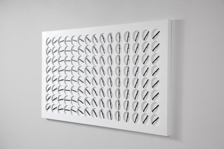 A Million Times 120 White Wall Clock Wall Sculpture by Humans, since 1982 In New Condition For Sale In Beverly Hills, CA