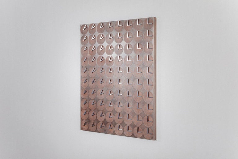 A Million Times 80 Copper Wall Clock Wall Sculpture by Humans, Since 1982 In New Condition For Sale In Beverly Hills, CA