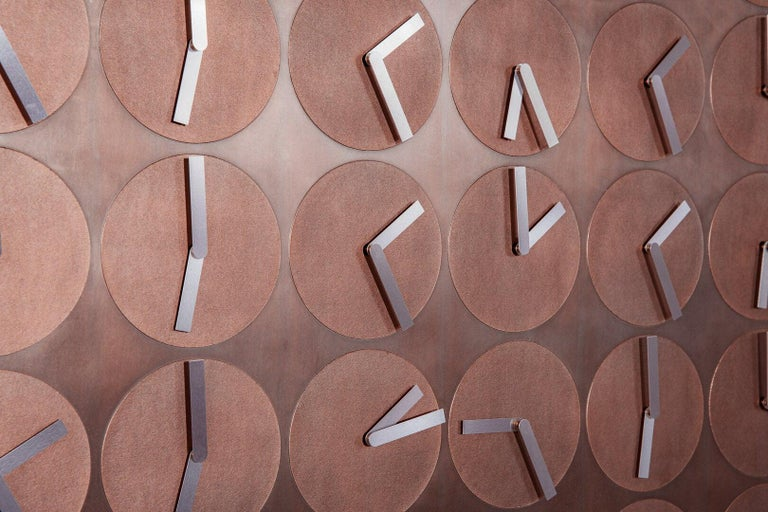 Contemporary A Million Times 80 Copper Wall Clock Wall Sculpture by Humans, Since 1982 For Sale