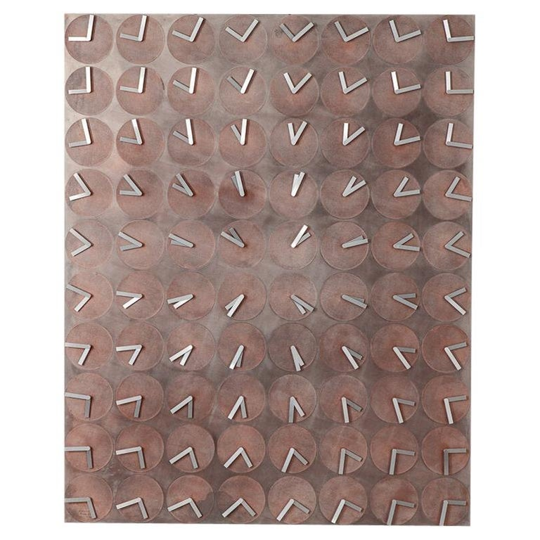 A Million Times 80 Copper Wall Clock Wall Sculpture by Humans, Since 1982 For Sale