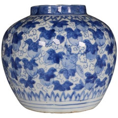 Ming Blue and White Jar Wanli Late 16th Century