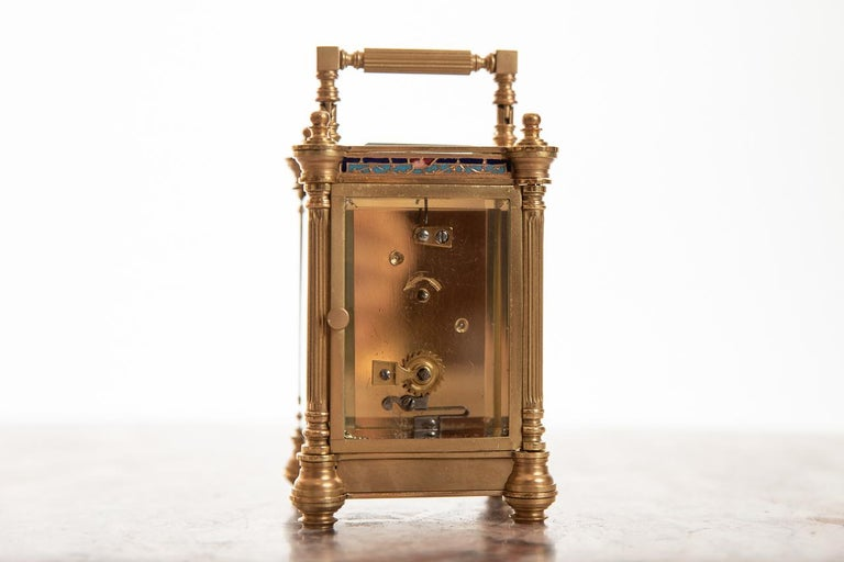 Late Victorian Miniature Fine French 8 Day Timepiece Brass Cased Carriage Clock For Sale