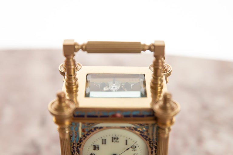 Miniature Fine French 8 Day Timepiece Brass Cased Carriage Clock In Good Condition For Sale In Cheltenham, GB