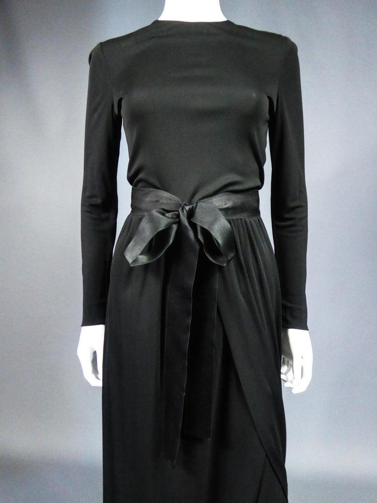Circa 1968 - 1972 France  Elegant long evening dress signed
