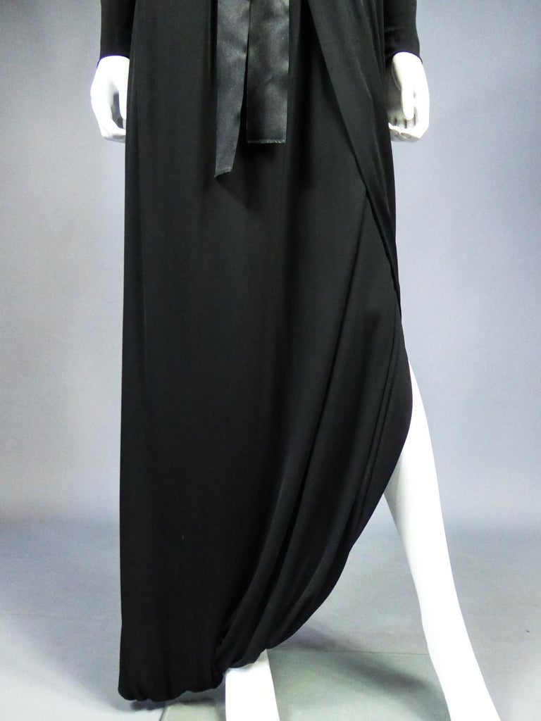 Black A Miss Dior Evening Dress by Philippe Guibourgé Circa 1970 For Sale