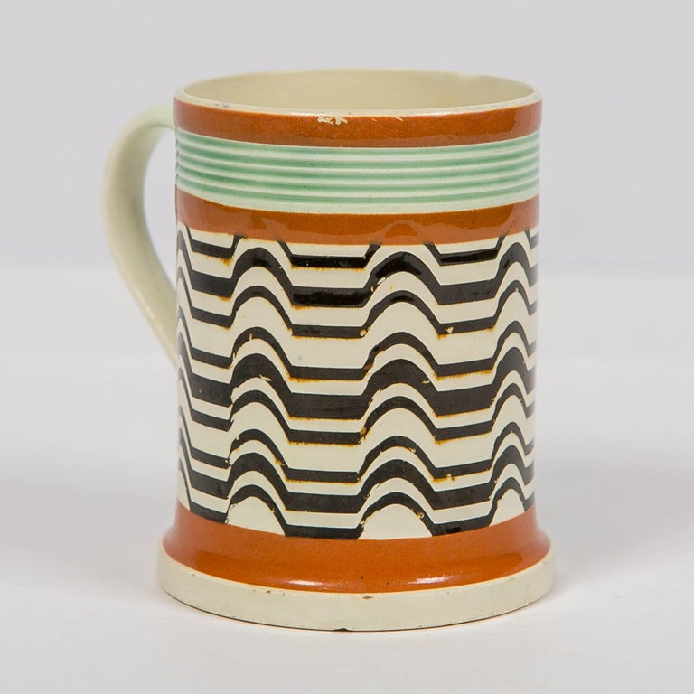Glazed Mochaware Mug Made by J.& R Clews at the Cobridge Factory, England, circa 1820 For Sale