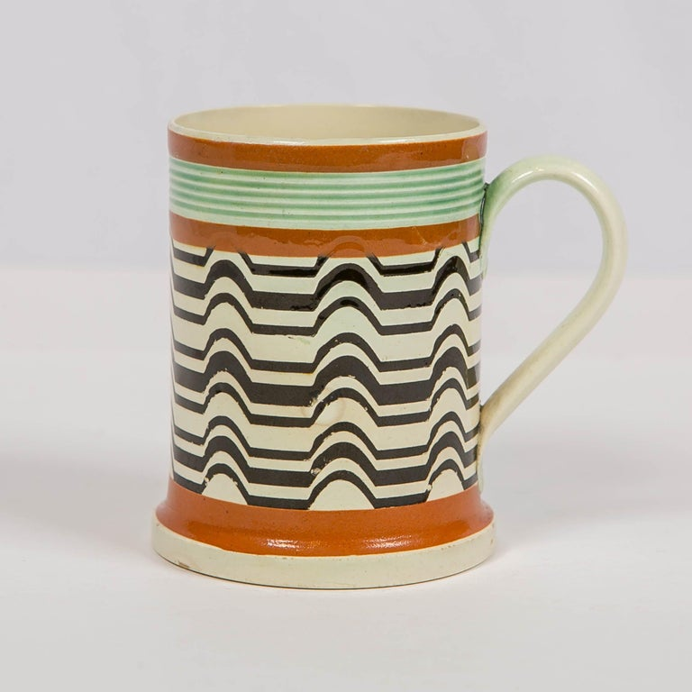 19th Century Mochaware Mug Made by J.& R Clews at the Cobridge Factory, England, circa 1820 For Sale