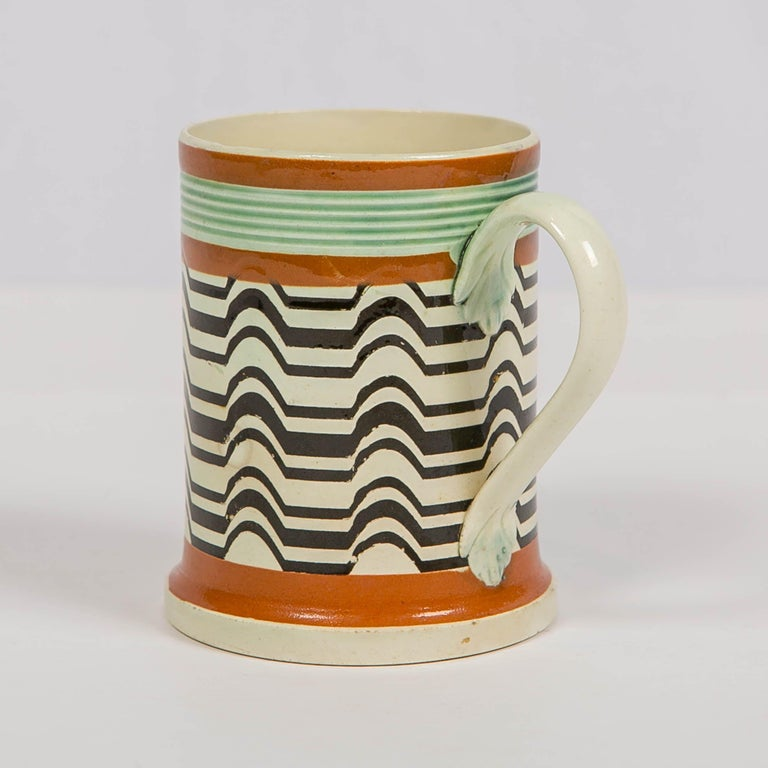 Earthenware Mochaware Mug Made by J.& R Clews at the Cobridge Factory, England, circa 1820 For Sale