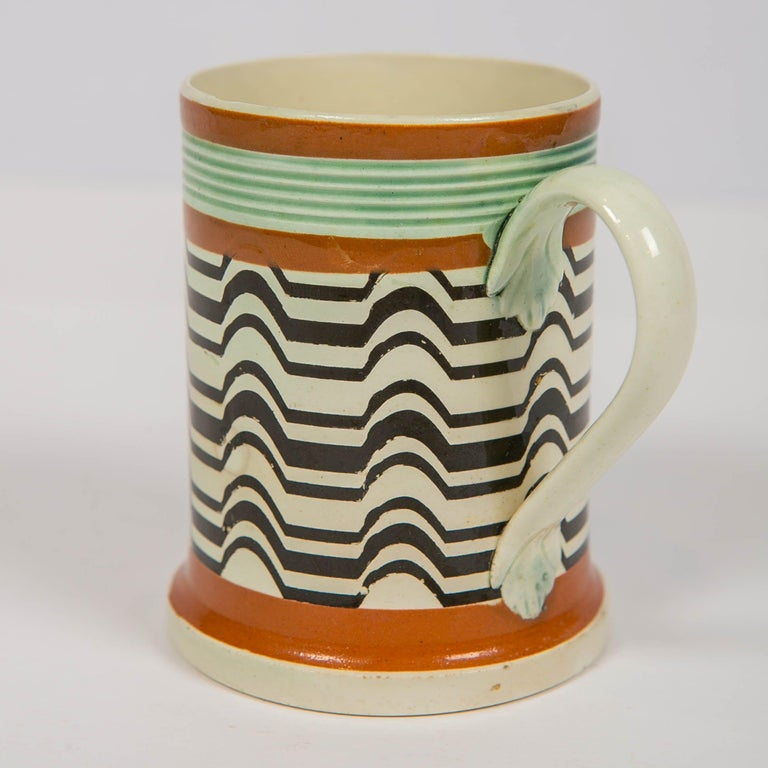 Mochaware Mug Made by J.& R Clews at the Cobridge Factory, England, circa 1820 For Sale 1