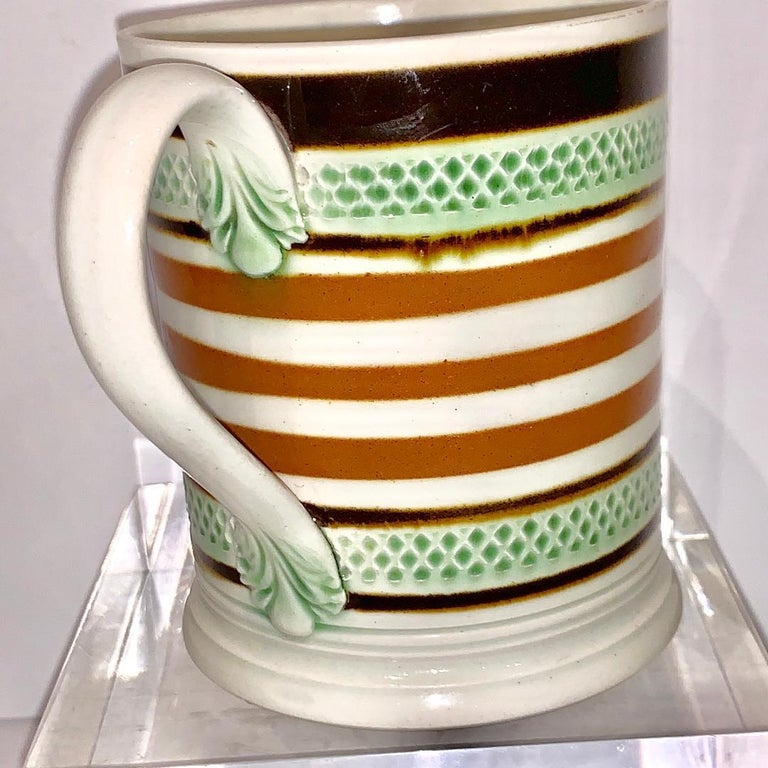 Folk Art Mochaware Mug Slip Banded and Rouletted, England, circa 1810 For Sale