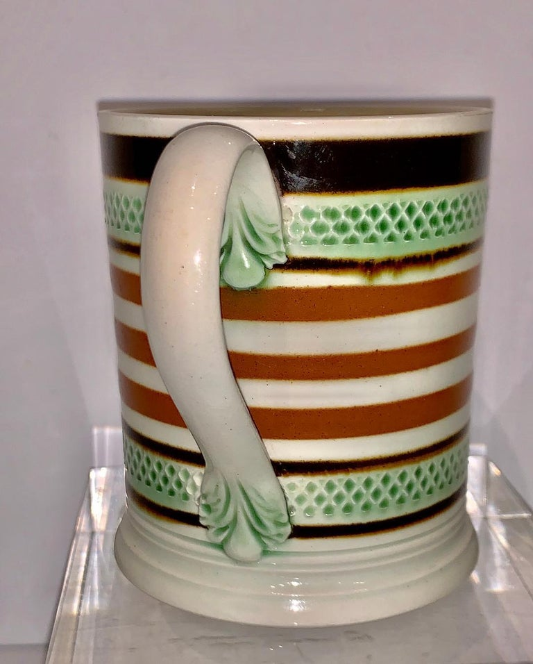 Glazed Mochaware Mug Slip Banded and Rouletted, England, circa 1810 For Sale