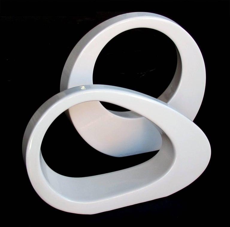 Modern Mod Set of 1980s Ivory-Glazed Amorphic Pottery by Jaru Pottery of California For Sale