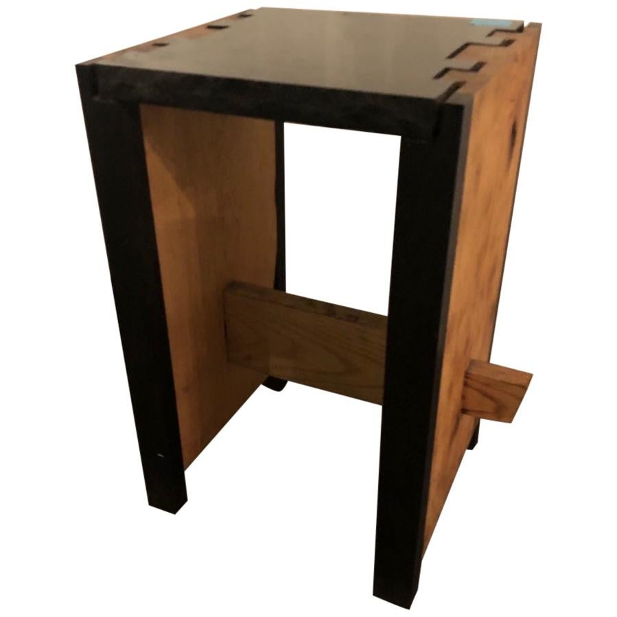 Modern Black Granite Top and Wood End or Side Table