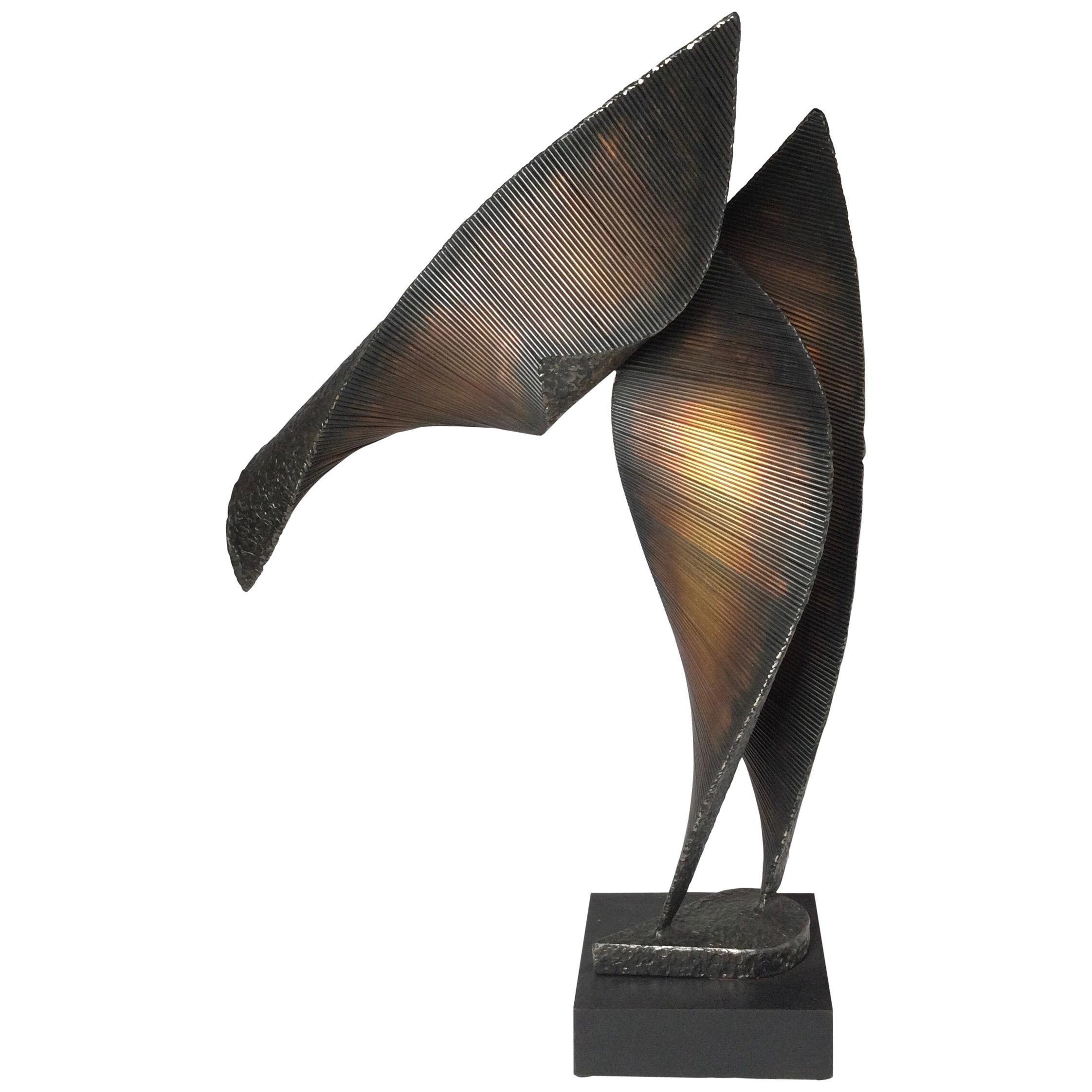 Modern Brutalist Abstract Metal Sculpture Signed Roper