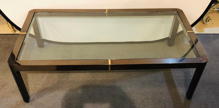 Modern Coffee/Low Table, Brass, Metal and Glass In Good Condition For Sale In Plainview, NY