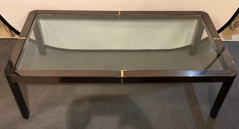 20th Century Modern Coffee/Low Table, Brass, Metal and Glass For Sale