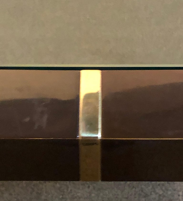 Modern Coffee/Low Table, Brass, Metal and Glass For Sale 1