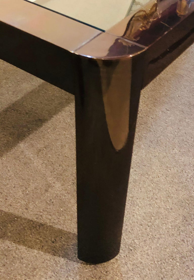 Modern Coffee/Low Table, Brass, Metal and Glass For Sale 2
