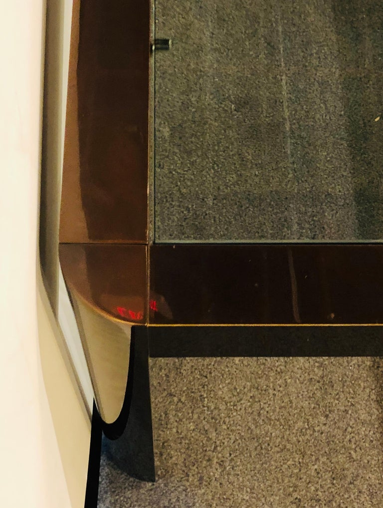 Modern Coffee/Low Table, Brass, Metal and Glass For Sale 3