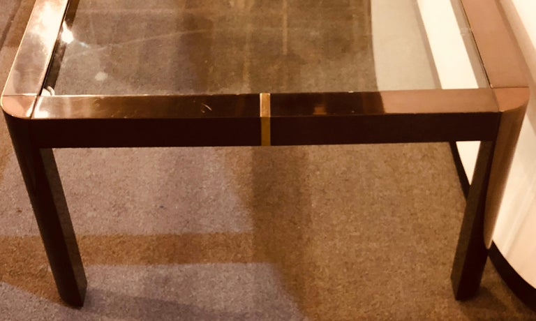 Modern Coffee/Low Table, Brass, Metal and Glass For Sale 5