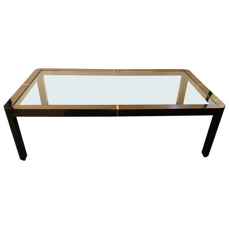 Modern Coffee/Low Table, Brass, Metal and Glass For Sale