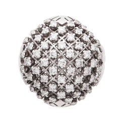 Diamond Bombe Ring Platinum and 18 Karat Gold