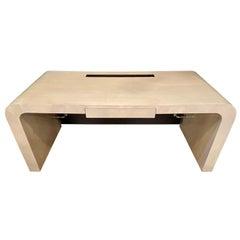 Modern Karl Springer Style Desk, Leather Back by Lorin Marsh