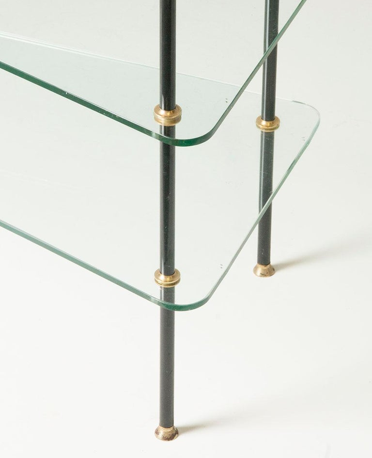 Mid-Century Modern Modern Mid-20th Century French Design Table with Glass Shelves For Sale