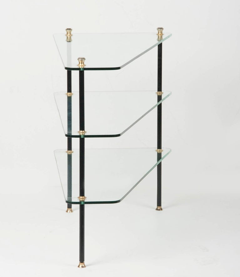 Modern Mid-20th Century French Design Table with Glass Shelves For Sale 1