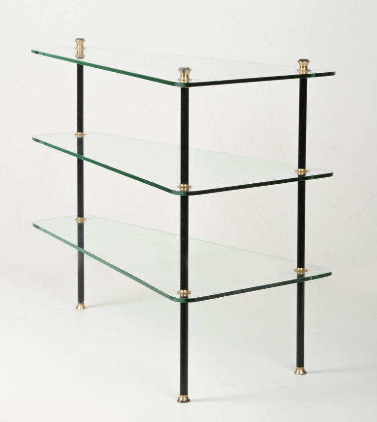 Modern Mid-20th Century French Design Table with Glass Shelves For Sale 3