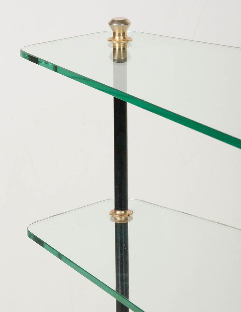 Modern Mid-20th Century French Design Table with Glass Shelves For Sale 4