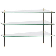 Modern Mid-20th Century French Design Table with Glass Shelves