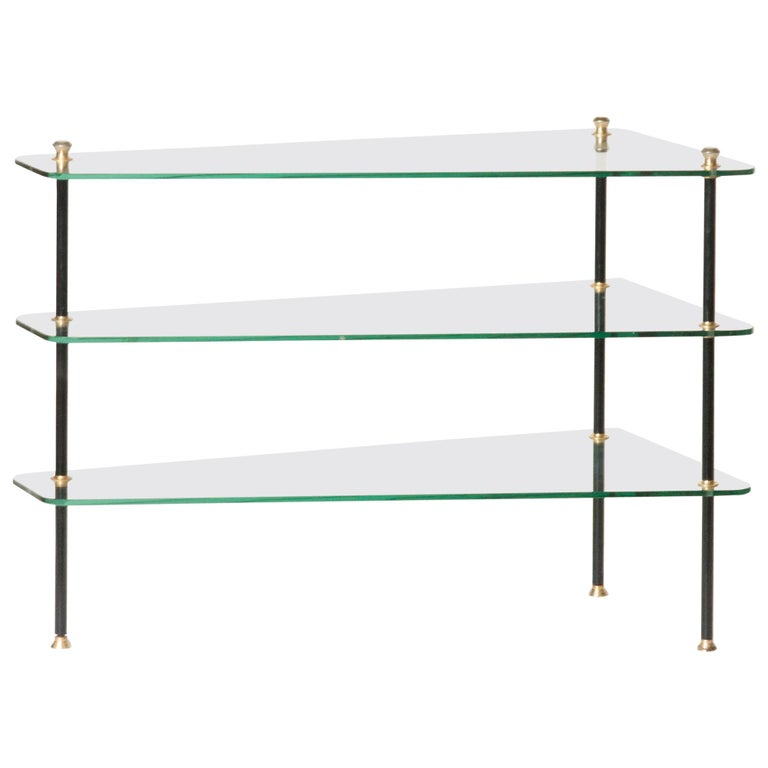 Modern Mid-20th Century French Design Table with Glass Shelves For Sale