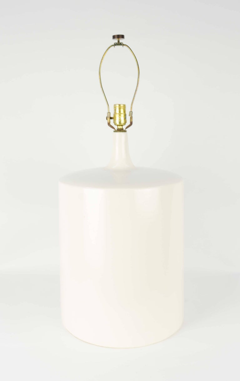 A modern Minimalist monumental white California ceramic lamp. This is both impressive and wonderful in scale and simplicity. Sold without the shade.