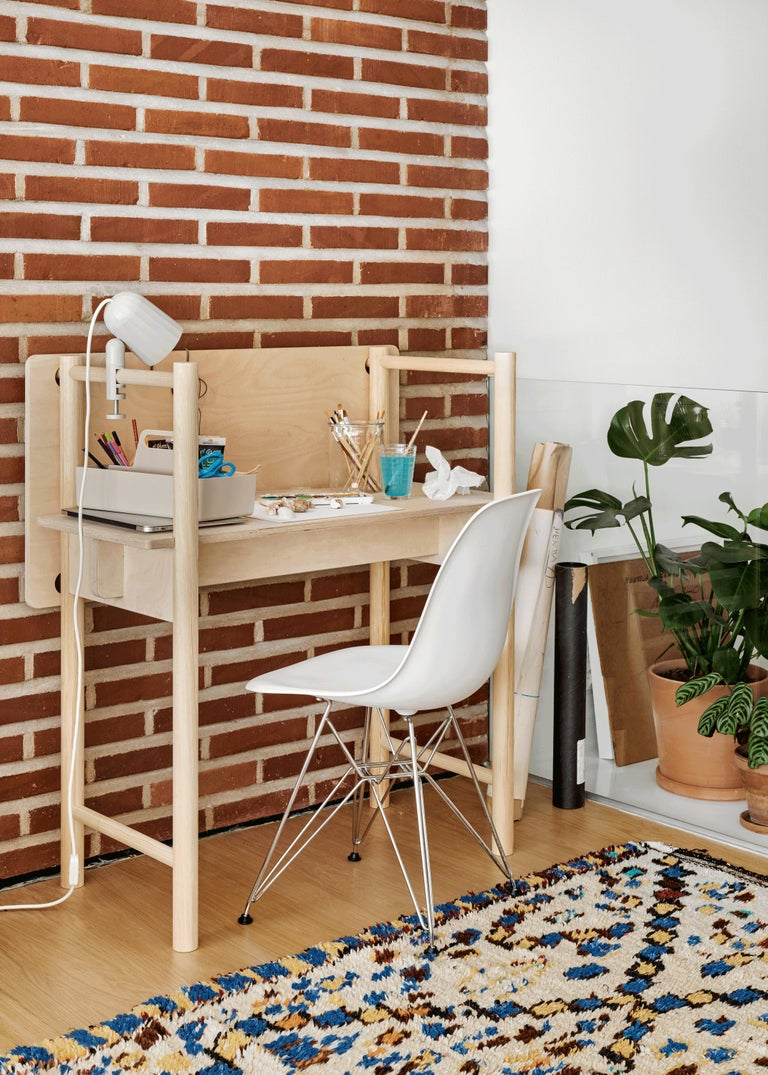 Hand-Crafted Modern Scandinavian Wooden Work Desk and Side Table For Sale