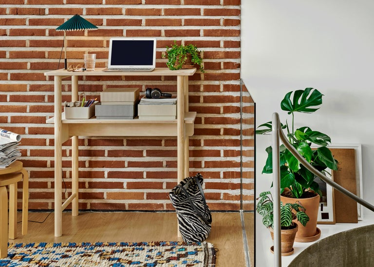 Contemporary Modern Scandinavian Wooden Work Desk and Side Table For Sale