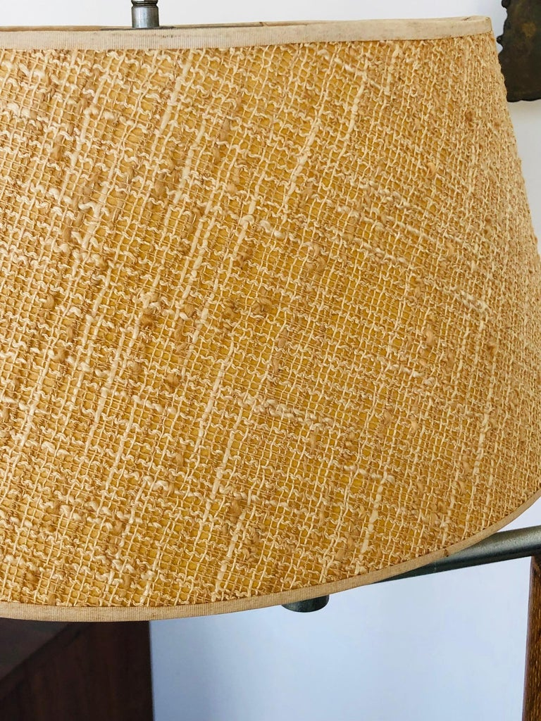 Modernist Articulated Floor Lamp with Original Shade For Sale 1