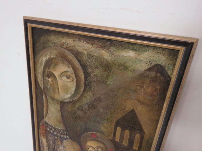 A modernist inspired fable painting by A. Mouradian. This piece, an oil on canvas board, is unsigned. We recently acquired a small grouping of Armenian figurative paintings by this unknown artist from the collection of Gordon Lankton, founder of the