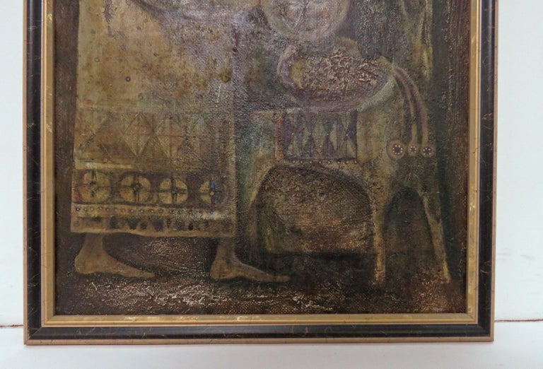 Modernist Inspired Fable Painting by Armenian Artist A. Mouradian In Good Condition For Sale In Peabody, MA