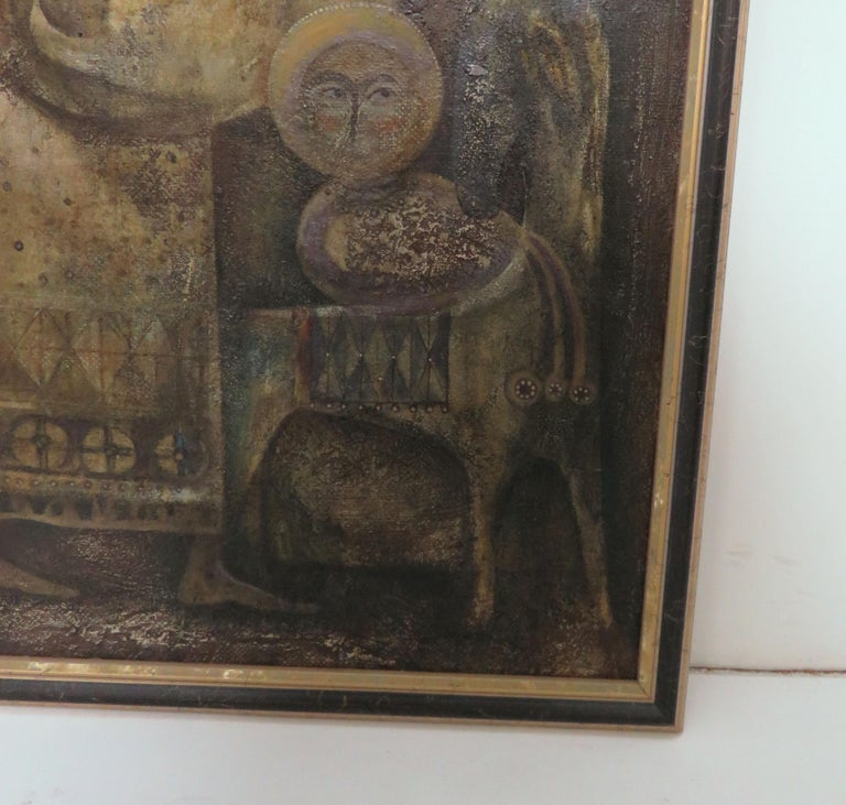 Late 20th Century Modernist Inspired Fable Painting by Armenian Artist A. Mouradian For Sale