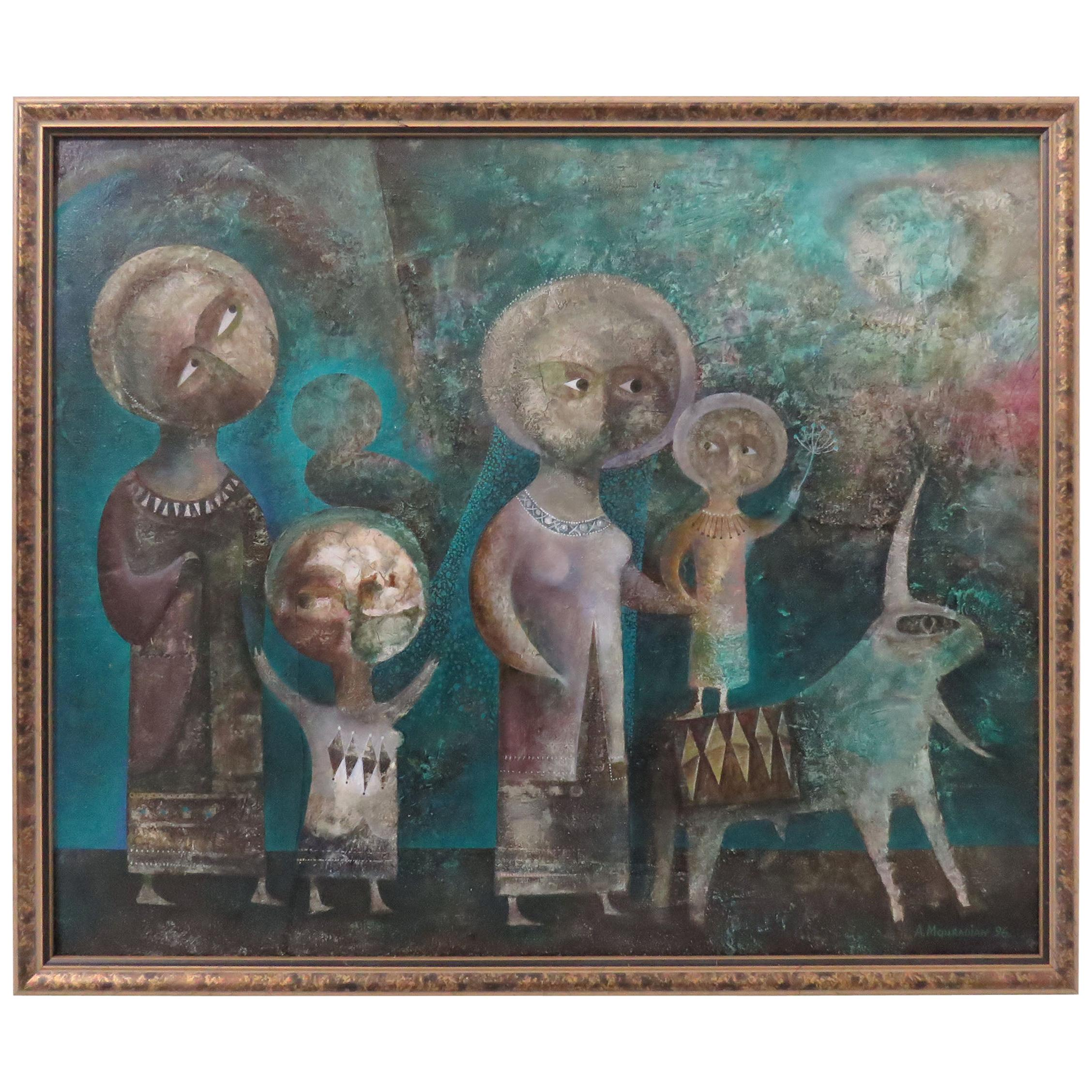 A Modernist Inspired Fable Painting by Armenian Artist A. Mouradian