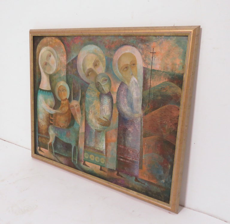 A modernist inspired fable painting by A. Mouradian. This piece, an oil on canvas, is unsigned. We recently acquired a small grouping of Armenian figurative paintings by this unknown artist from the collection of Gordon Lankton, founder of the