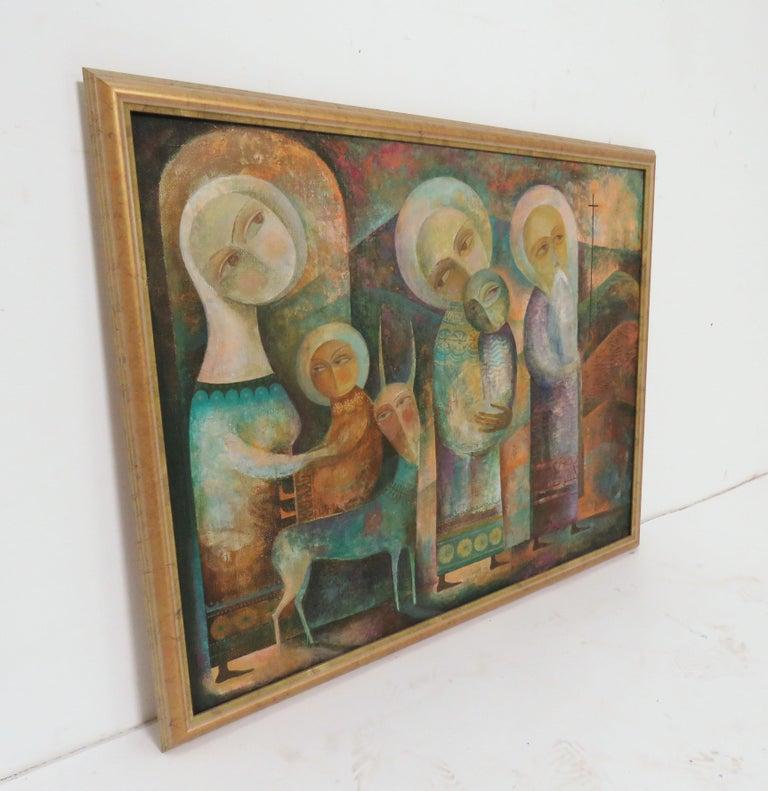 Folk Art Modernist Russian Icon Painting by Armenian Artist A. Mouradian For Sale