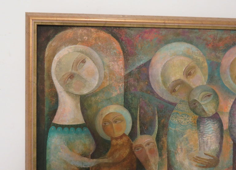 Modernist Russian Icon Painting by Armenian Artist A. Mouradian In Good Condition For Sale In Peabody, MA