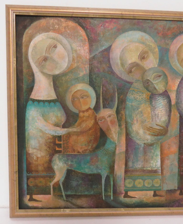 Late 20th Century Modernist Russian Icon Painting by Armenian Artist A. Mouradian For Sale